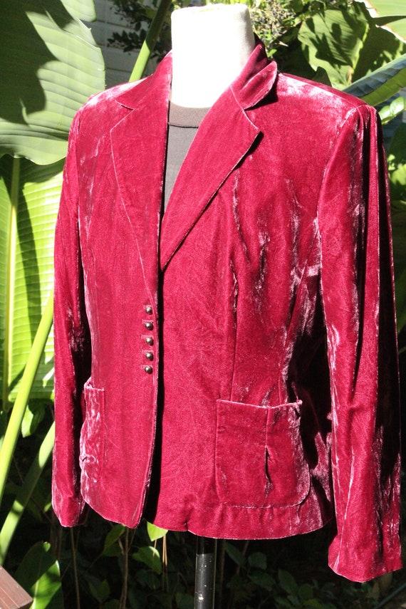 Red Burgundy Velvet Blazer w Ball Buttons (Vintag… - image 3