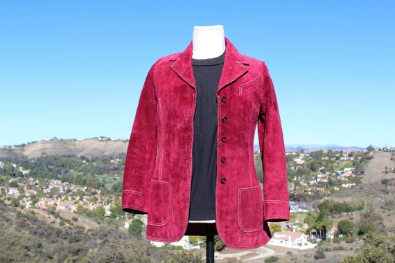 I Magnin Vintage Cranberry Red Suede Leather Jacke