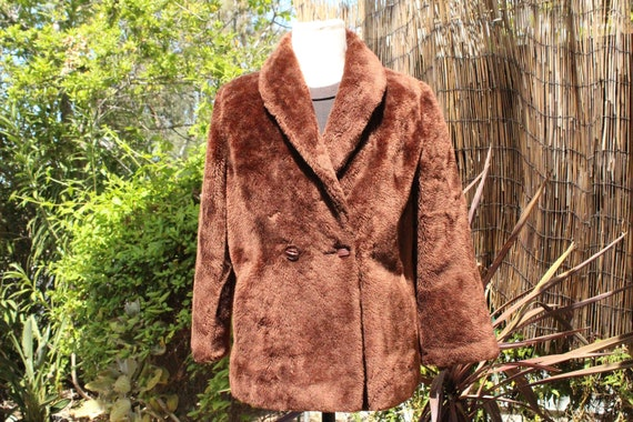 Vintage 60s Brown Faux Fur 2-Button Sears Coat (Vi