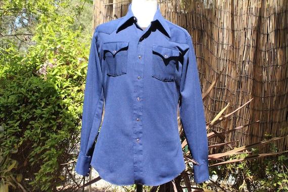 Vintage 70s Dark Blue Western Snap Shirt (Vintage