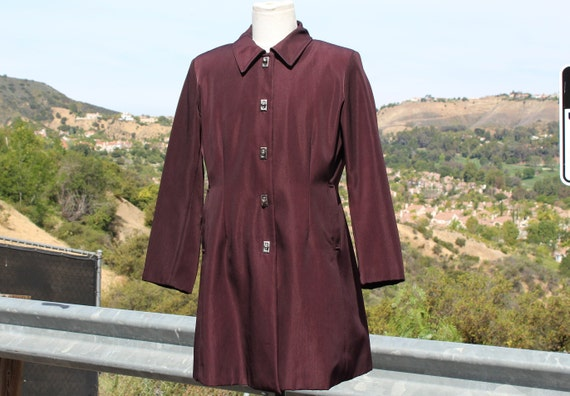Unique Claspped Dark Red Blade Runner Overcoat Rai