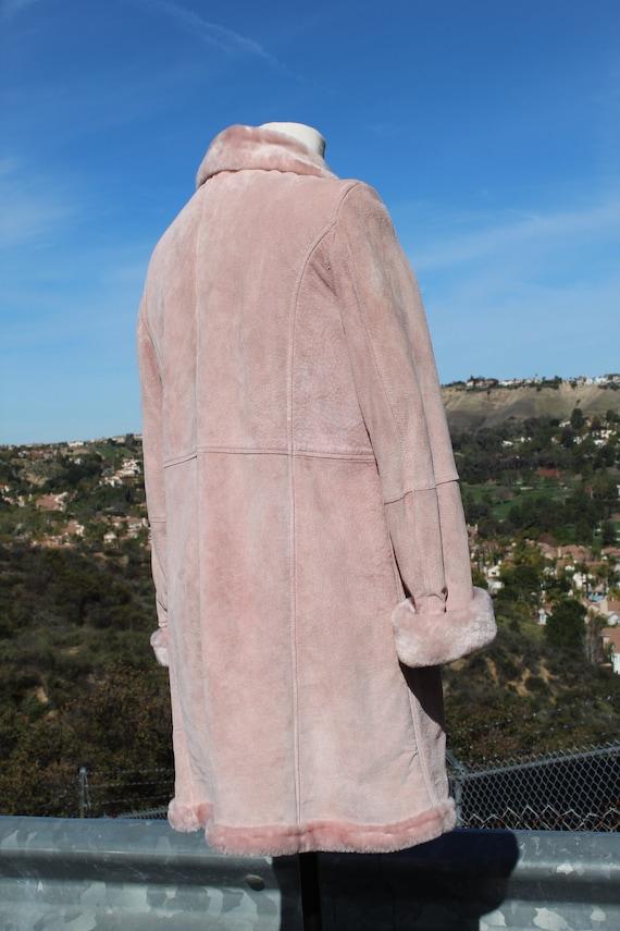 Rose en cuir de daim veste fausse fausse veste fourrure (Vintage / 80 ' s) 805b20
