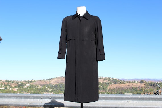 Made In USA Vintage Sanyo Black Wool Trench Coat (