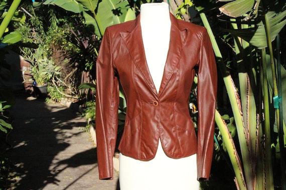 Vintage Wilsons 70s Brown Womens Leather Blazer 5/