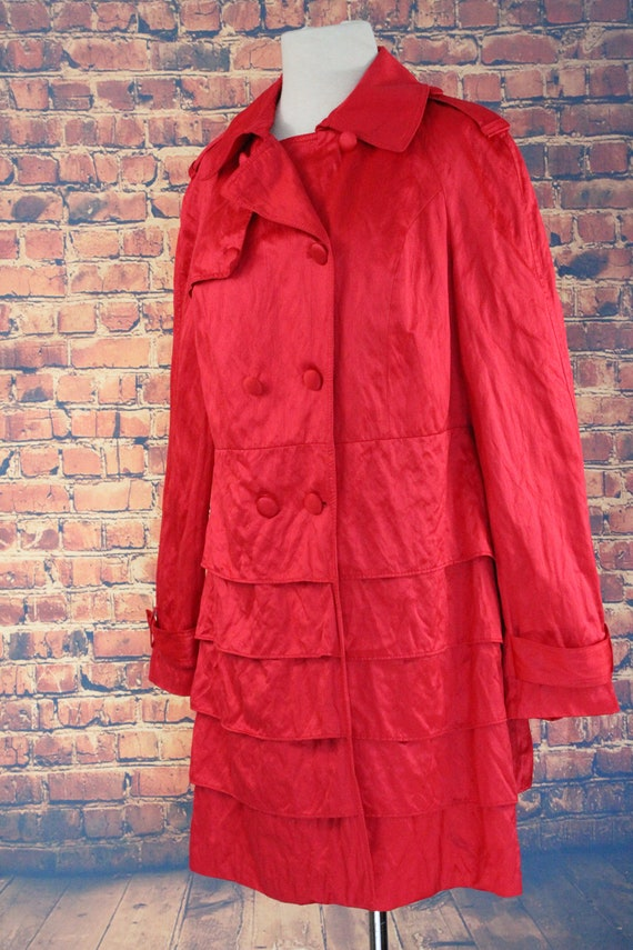 Red Shiny Ruffle Double Breasted Overcoat (Vintag… - image 3