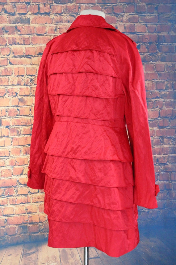 Red Shiny Ruffle Double Breasted Overcoat (Vintag… - image 6