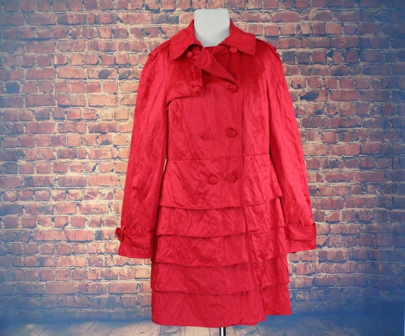 Red Shiny Ruffle Double Breasted Overcoat (Vintage