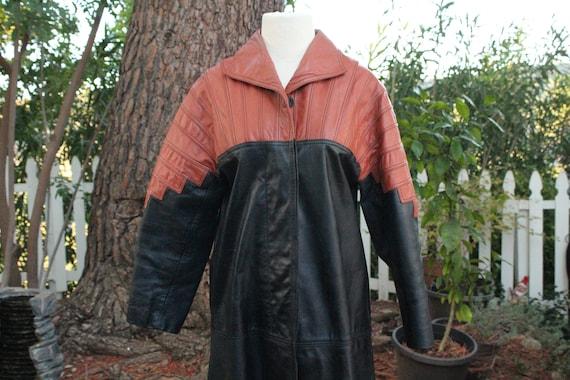 Vintage 60s Black / Red Long Leather Coat (Vintag… - image 1