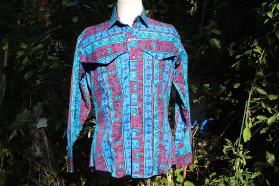 Vintage 60s Blue Patterned Cotton Western Cowboy S