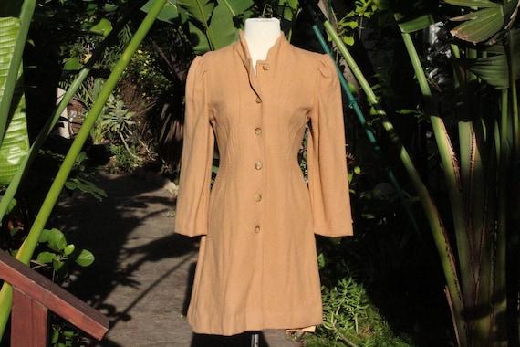 Long 60s Tan Wool 6 Button Jacket (Vintage / 60s)