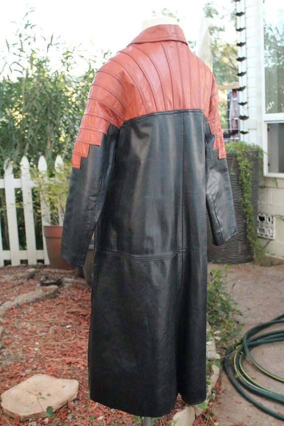Vintage 60s Black / Red Long Leather Coat (Vintag… - image 6