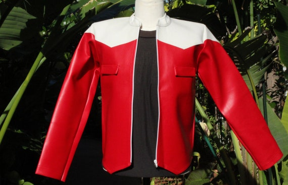 Mod Red White Pleather Vegan Motorcycle Jacket (Vi