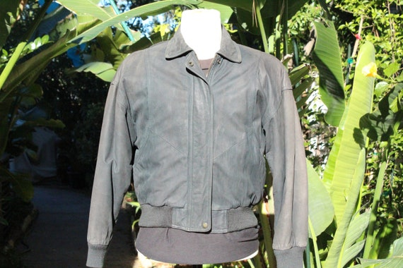 Vintage 80s Black Wilsons Leather Insulated Bomber