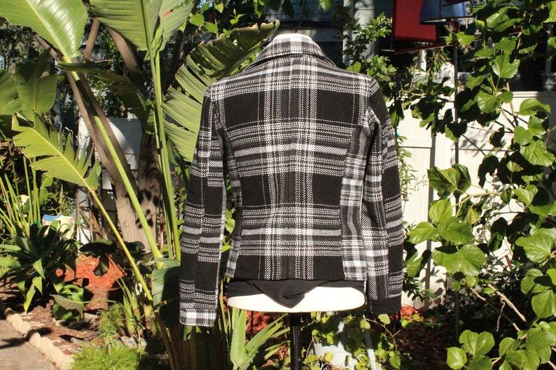 Vintage  80s Black  Grey Stripped Wool Blend Motorcycle Jacket
