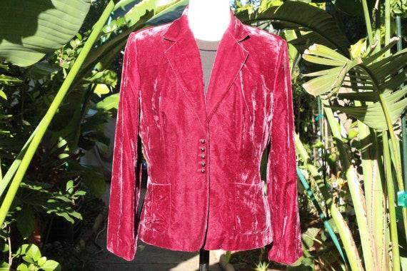 Red Burgundy Velvet Blazer w Ball Buttons (Vintag… - image 1