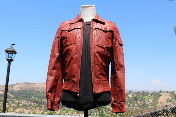 Vintage 70s Wilson's Leather Orange Brown Motorcyc
