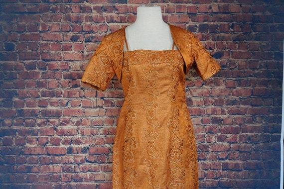 Vintage 1960s Orange Sequin Cocktail Dress w Baler