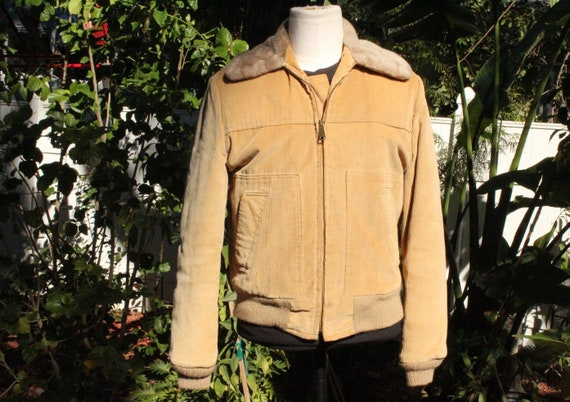 1960s Sears Vintage Tan Corduroy Insulated Jacket
