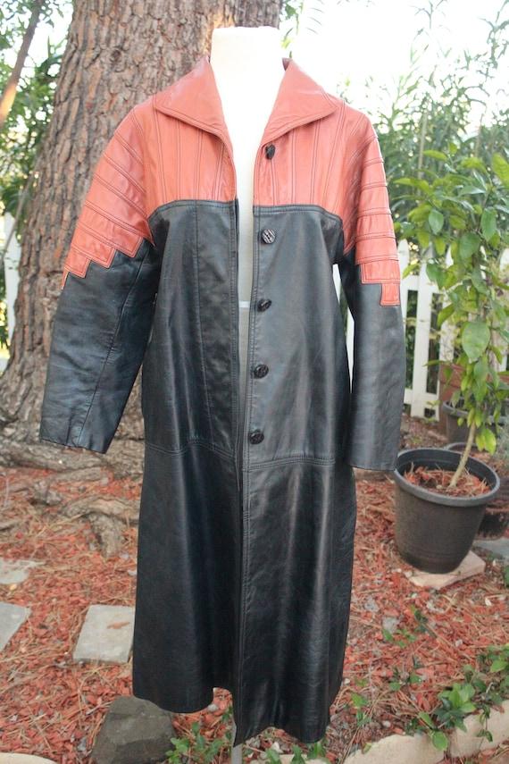 Vintage 60s Black / Red Long Leather Coat (Vintag… - image 3