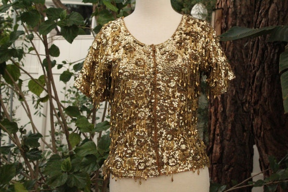 Gold Sequin Vintage 40s Ohrbach's Wool Sweater 36
