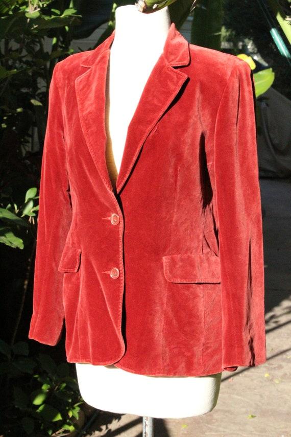 Vintage 80s Red Mod Velvet Blazer (Vintage / Kore… - image 3