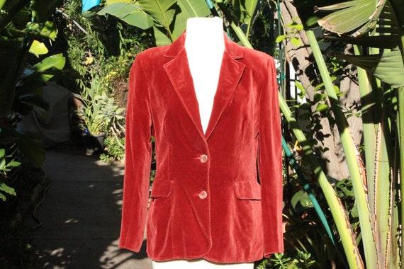 Vintage 80s Red Mod Velvet Blazer (Vintage / Kore… - image 1
