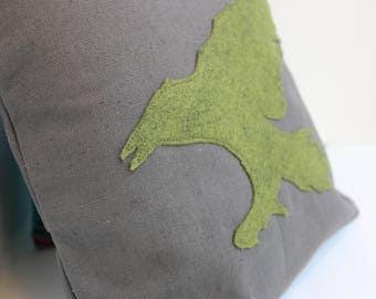 Animal Pillow Covers, Diving wool whale, Felt raven, throw pillow, Wildlife living room decor