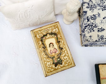 Lovely small French book-shaped box with mirror