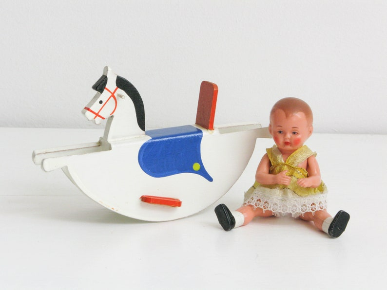 Vintage celluloid doll Schildkr\u00f6t Turtle and Rocking horse of Erzgebirge 1950s dollhouse toys not played