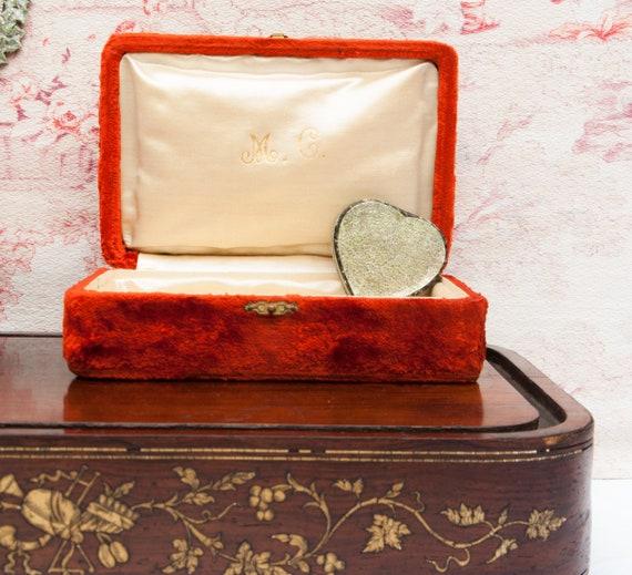 Antique jewelry box, Small orange velvet trinket b
