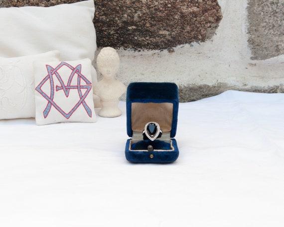 Large blue velvet ring box, Engagement ring box, W