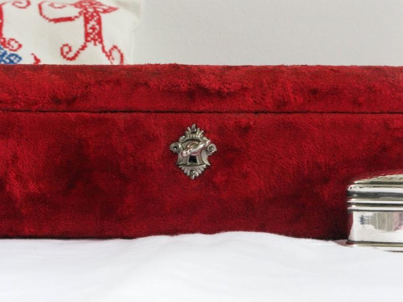 Antique red velvet jewelry box French velvet Napoleon III Beveled glass lid and silk tufted interior