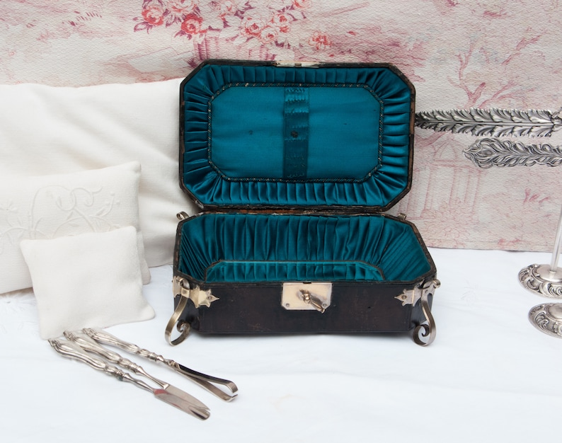 blue silk lining Early 1900s beveled vanity mirror and 800 silver tools Antique leather travel box