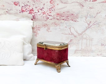 Antique red velvet jewelry box with beveled glass lid and silk tufted interior, Napoleon III