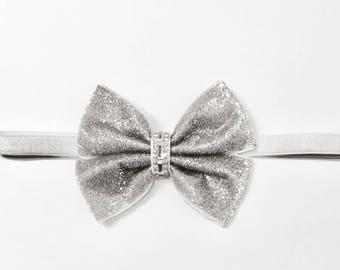 """4/"""" Sequin Fabric Shiny bow Alice band hair headbands"""