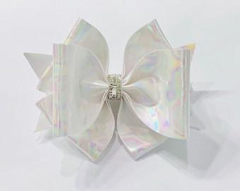 2c9c105703d7 Iridescent White Hair Bow