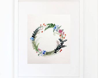 EUCALYPTUS WREATH, original painting, 29, 7 x 23, 7