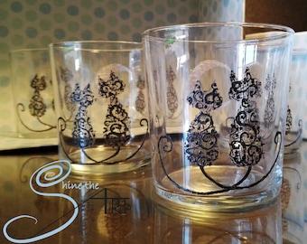 6 hand painted all-purpose  glass feline moon design