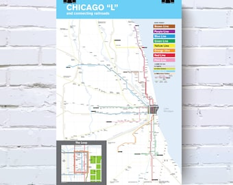 Chicago Subway Map Picture.Chicago Transit Map Etsy