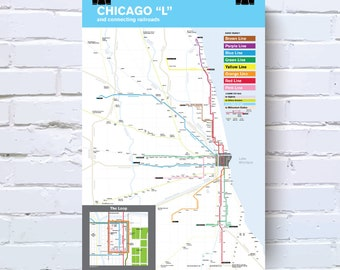 Subway Map Chicao.Chicago Subway Map Etsy