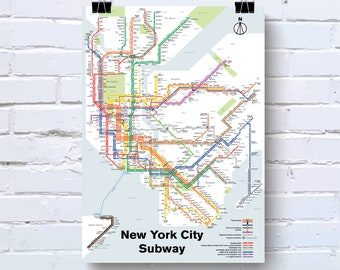 New York City Subway Map Poster.New York City Map Etsy