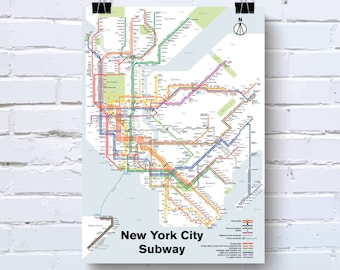 New york subway map | Etsy