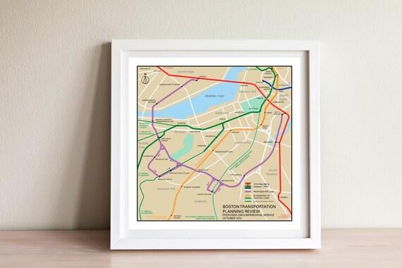 1950s Mbta Elevated Subway Map.Boston Mbta Planned Subways And Monorail Map Print 1972