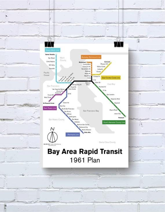 1961 Bay Area Rapid Transit Aka Sf Bart Map Print Etsy ✦ california bay area county map.svg 1961 bay area rapid transit aka sf bart map print vintage style poster original art