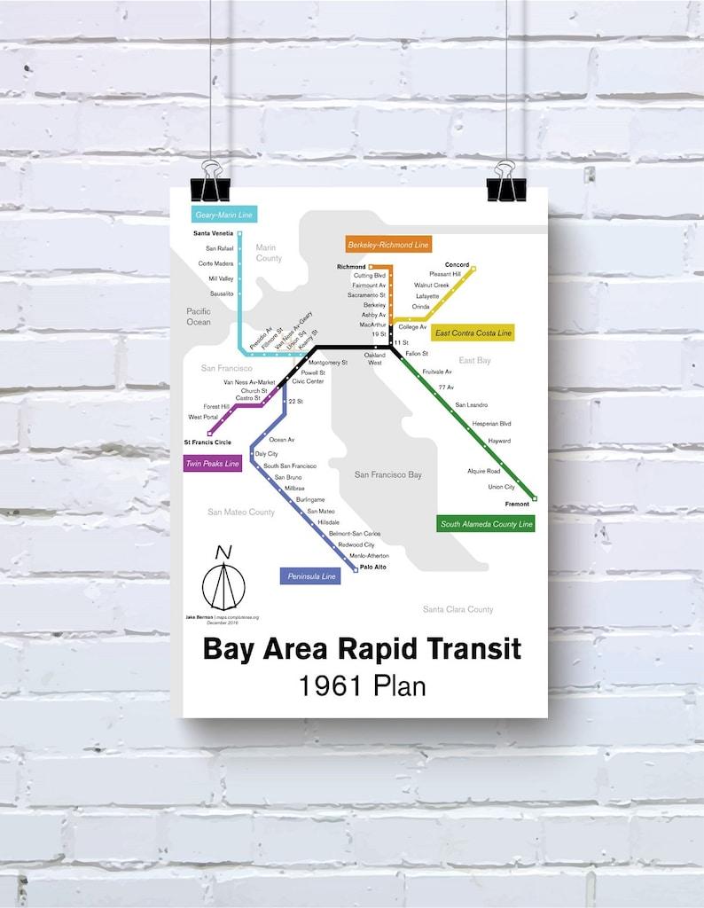 1961 Bay Area Rapid Transit Aka Sf Bart Map Print Etsy