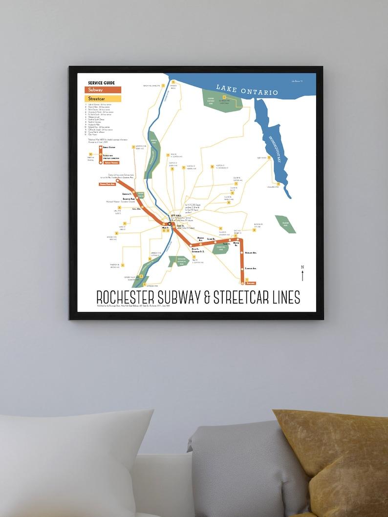Rochester Abandoned Subway Map.Rochester Ny Subway And Streetcar Map Print 1929 Original Retro Art Poster