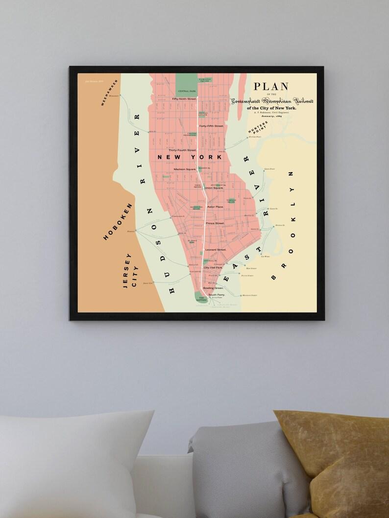 Dc Subway Map Pillow.New York City Subway Map Plans 1865 Original Poster Art Print