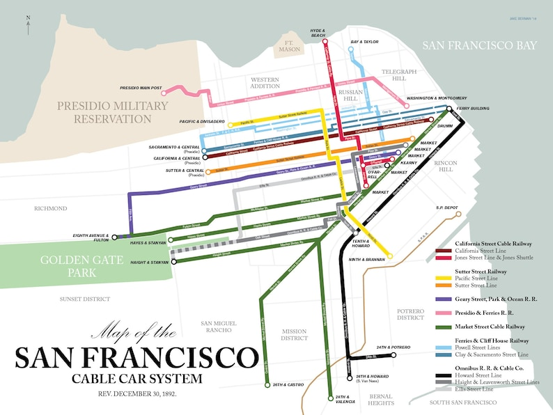 San Francisco Cable Car Map 1892 Original Retro Art Poster Etsy