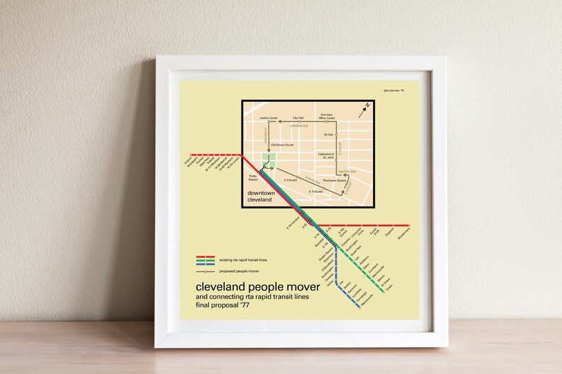 Cleveland downtown people mover and connecting subway map, 1977 proposal -  original poster art