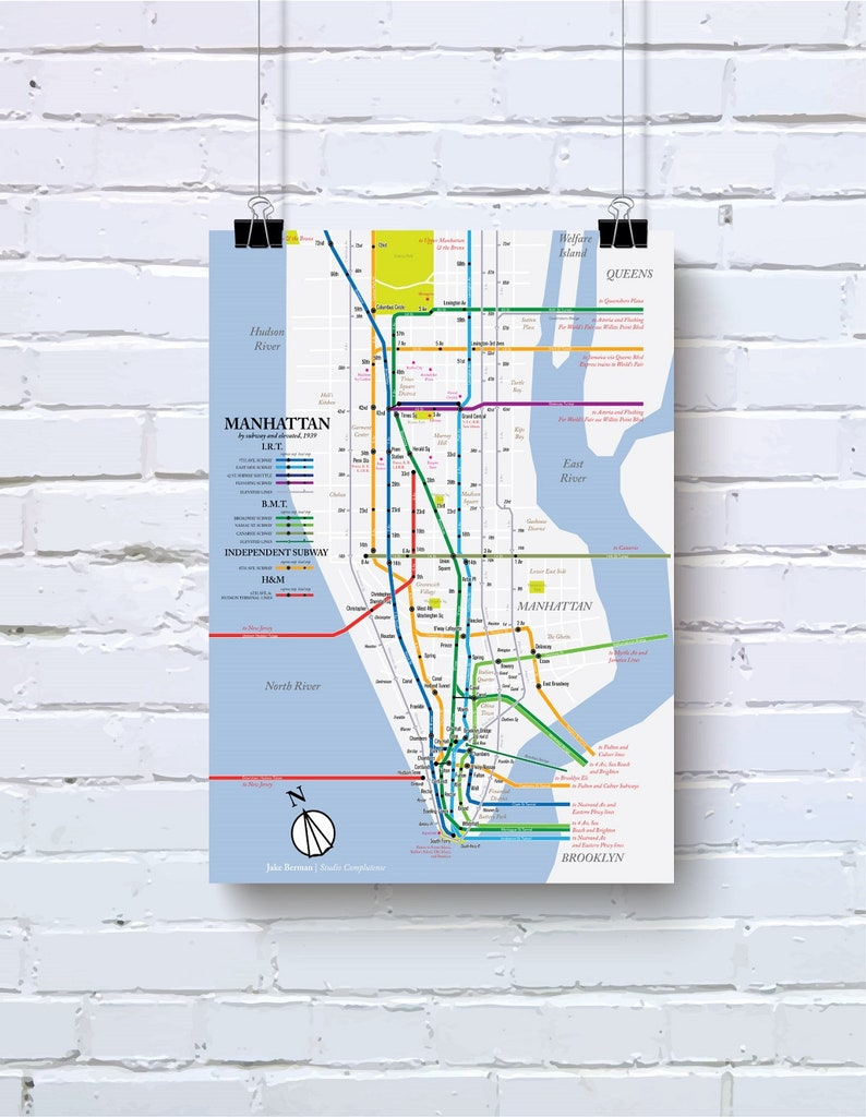 Downtown Nyc Subway Map.1939 Nyc Subway Map Print Original Retro Vintage Style Art Of New York